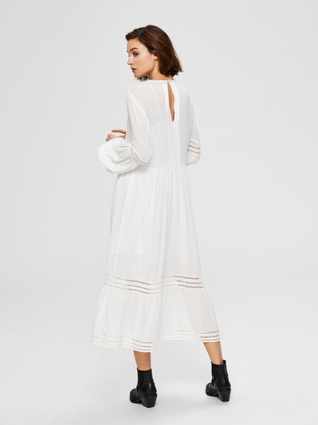 Valentina Lace Trimmed Midi Dress in White