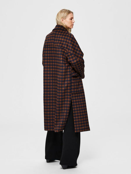 Element Gingham Checked Coat in Maritime Blue