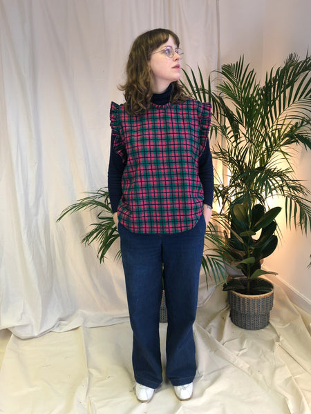 The Ducie Top - Navy Pink Green Check Cotton Mix ~ Limited Edition ~