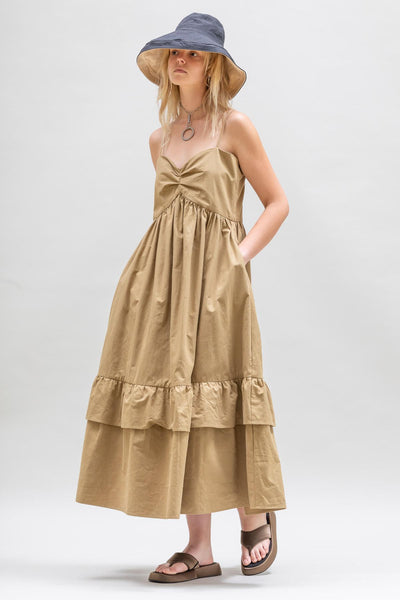 Bandeau Tier Ruffle Dress in Caramel