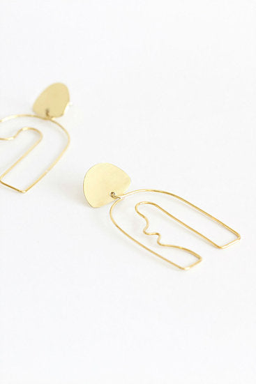 No.2 Earrings in Gold Plate