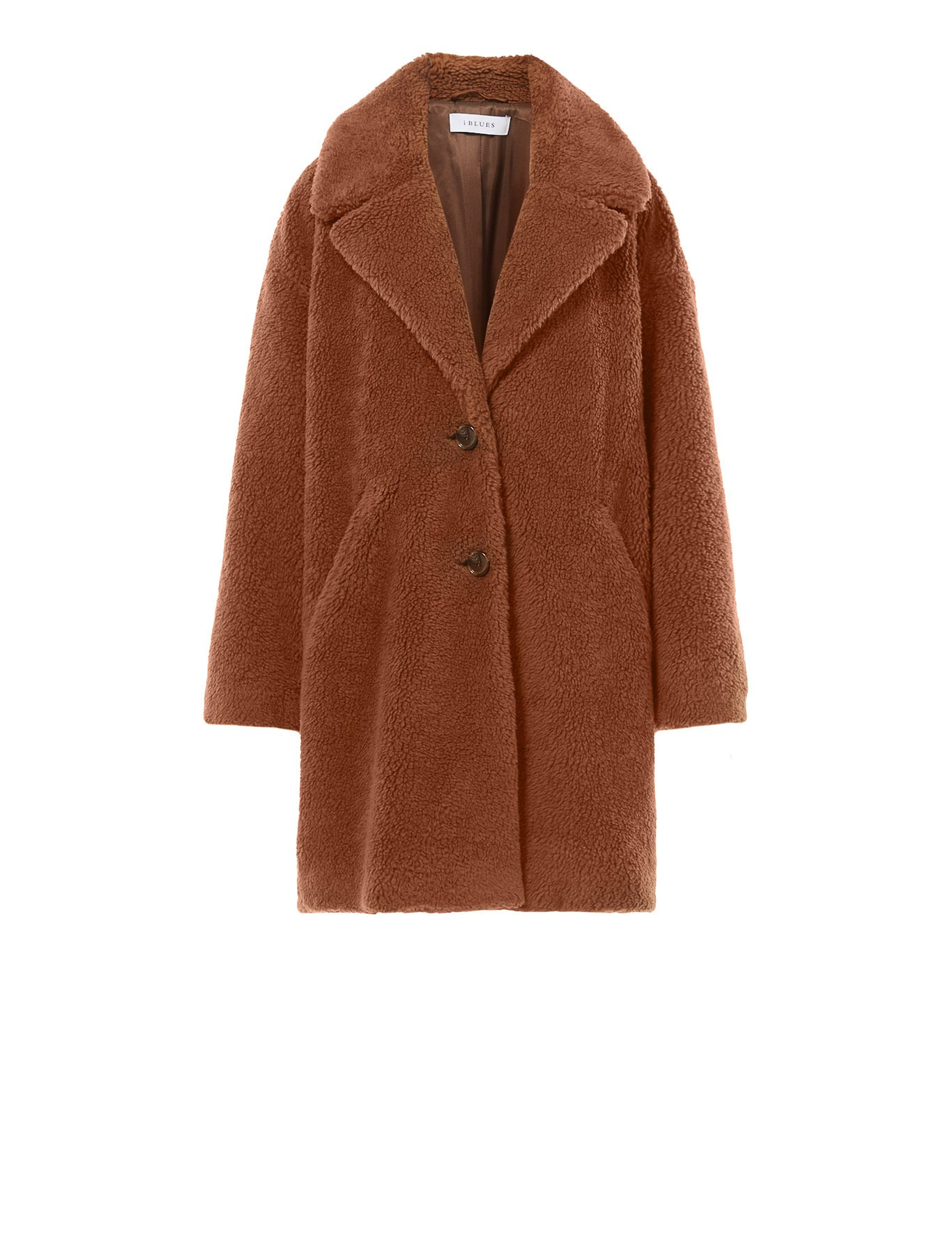 Veranda Plush-Effect Coat in Cognac