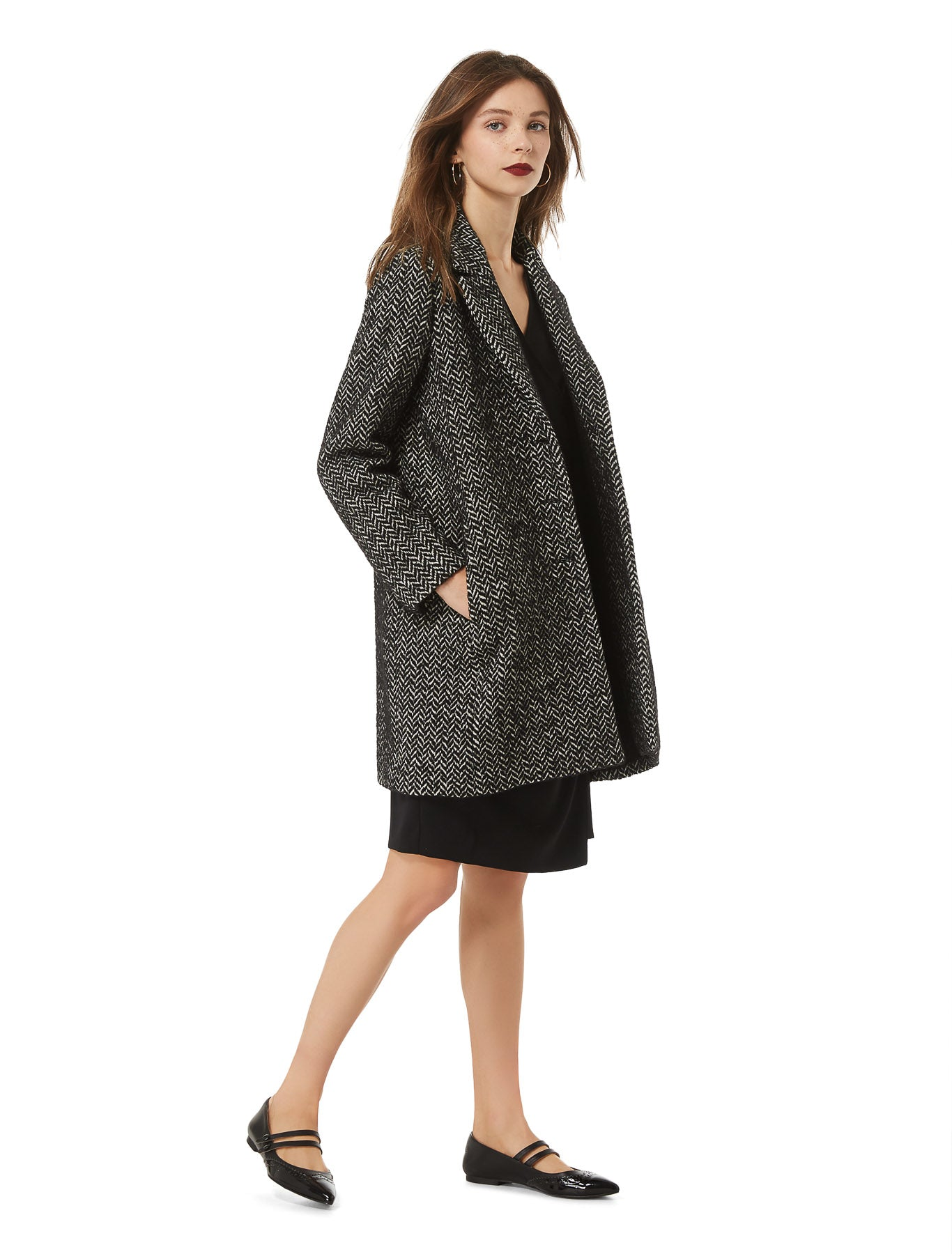 Venere Coat in Black & White Herringbone