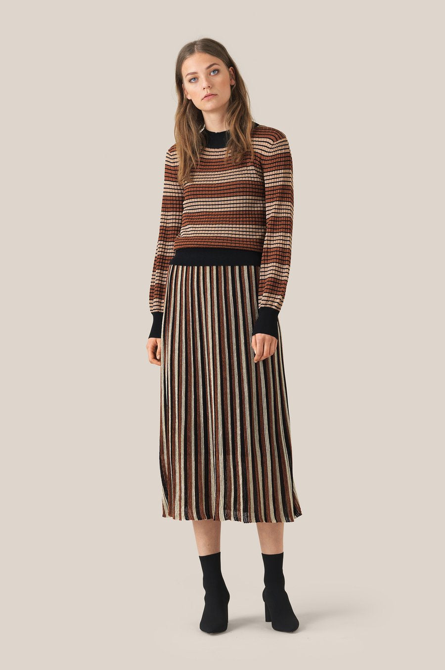 Aslan Knit Striped O-Neck
