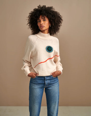 Amouso Knit Sweater in Ecru