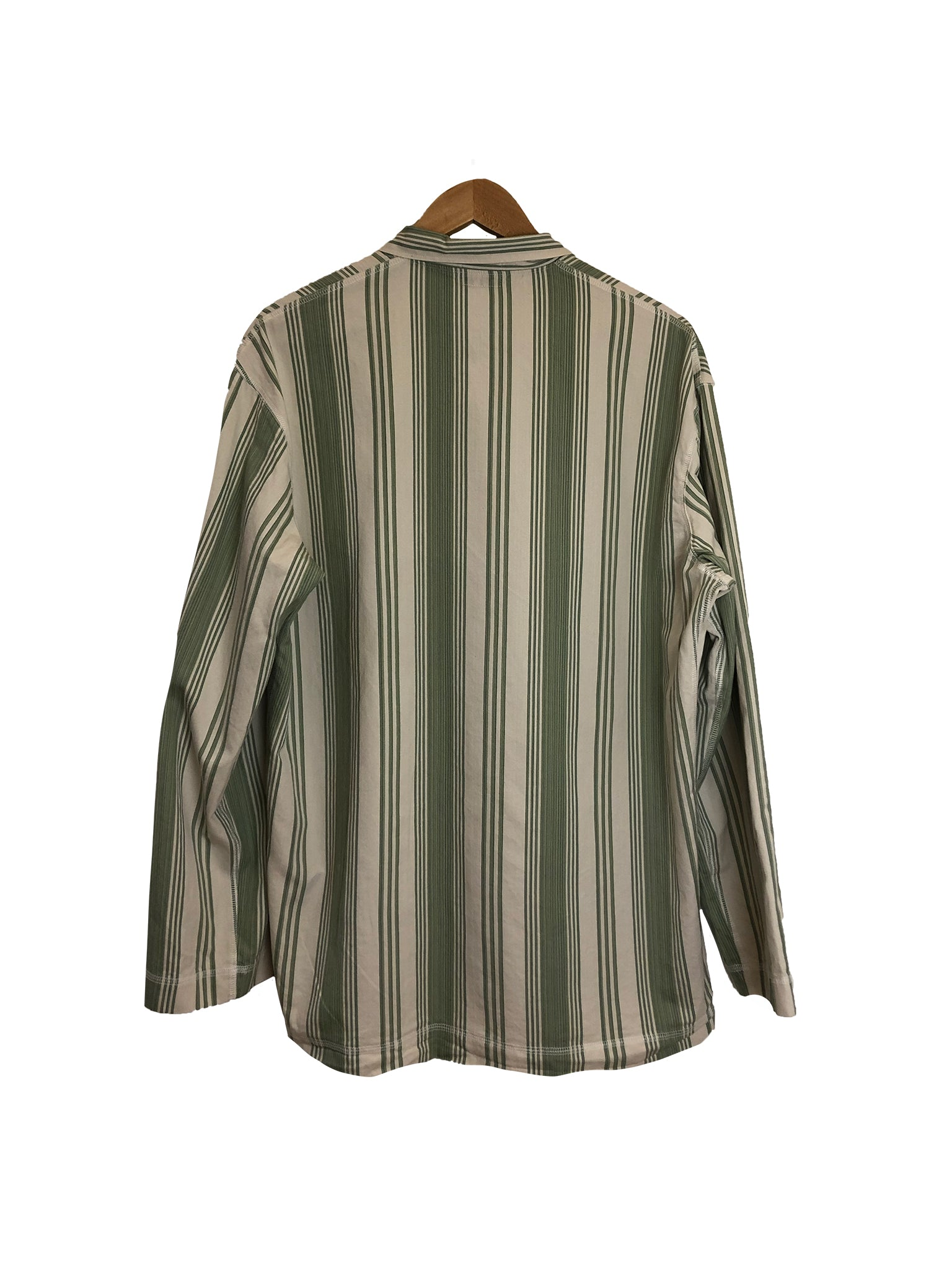 Long Sleeve Weaver's Stock Beach Stripe Shirt - Sage