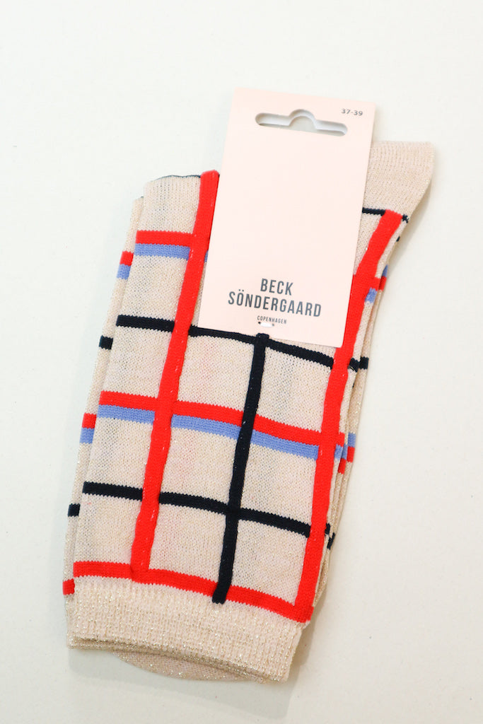 Dean Summer Check socks in Red Love