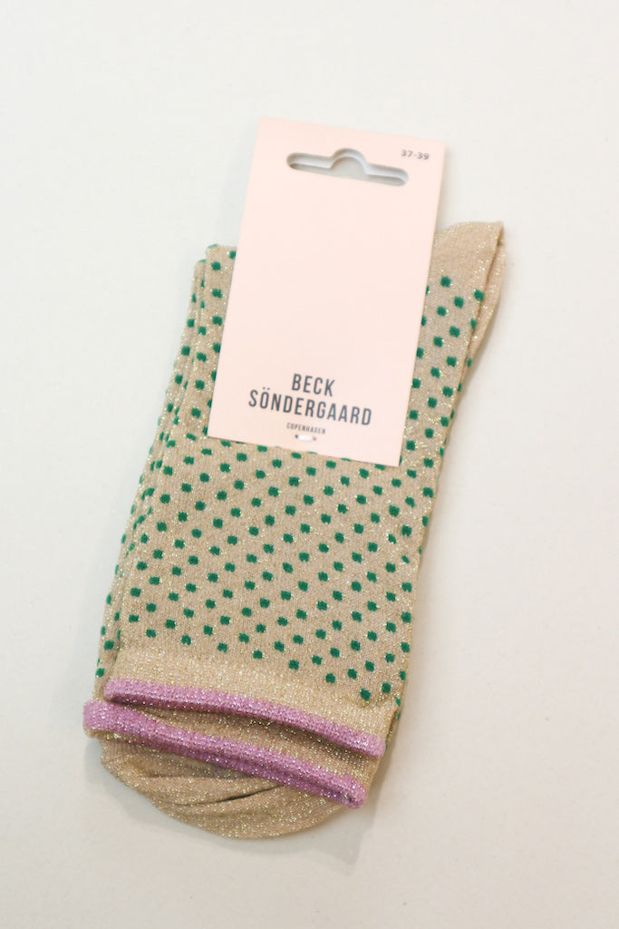Dina Small Dots socks in Verdant Green