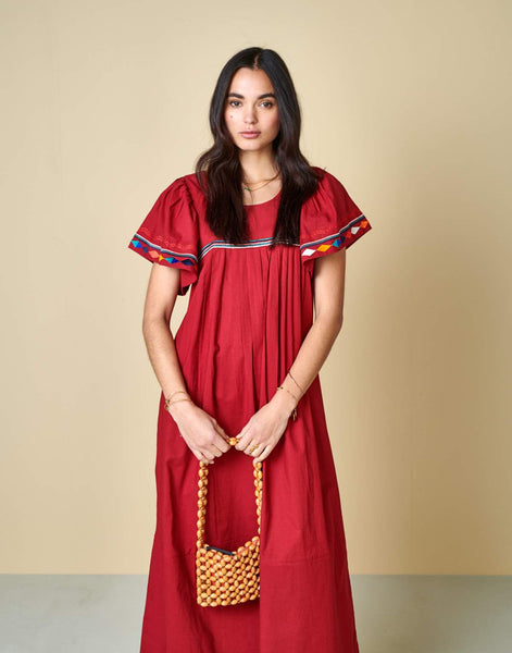 Diatou Dress in Dahlia Red