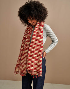 Serane Scarf in Red and White Houndstooth Check