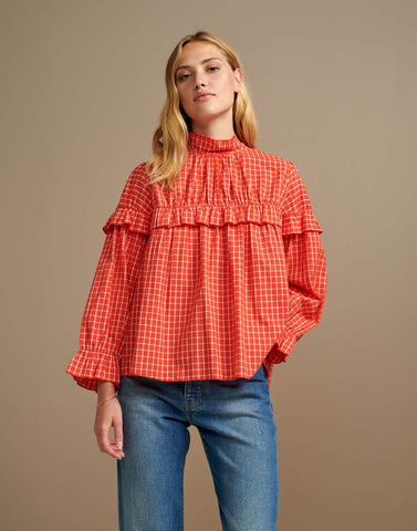 Dakota Blouse in Tangerine Orange and White Check