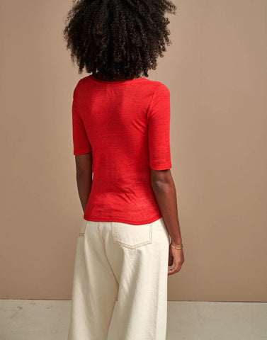 Seas Tee in Red Goji