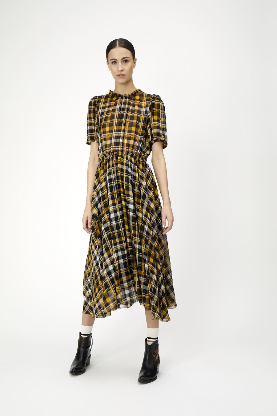 Brix Dress in Yellow/Black check