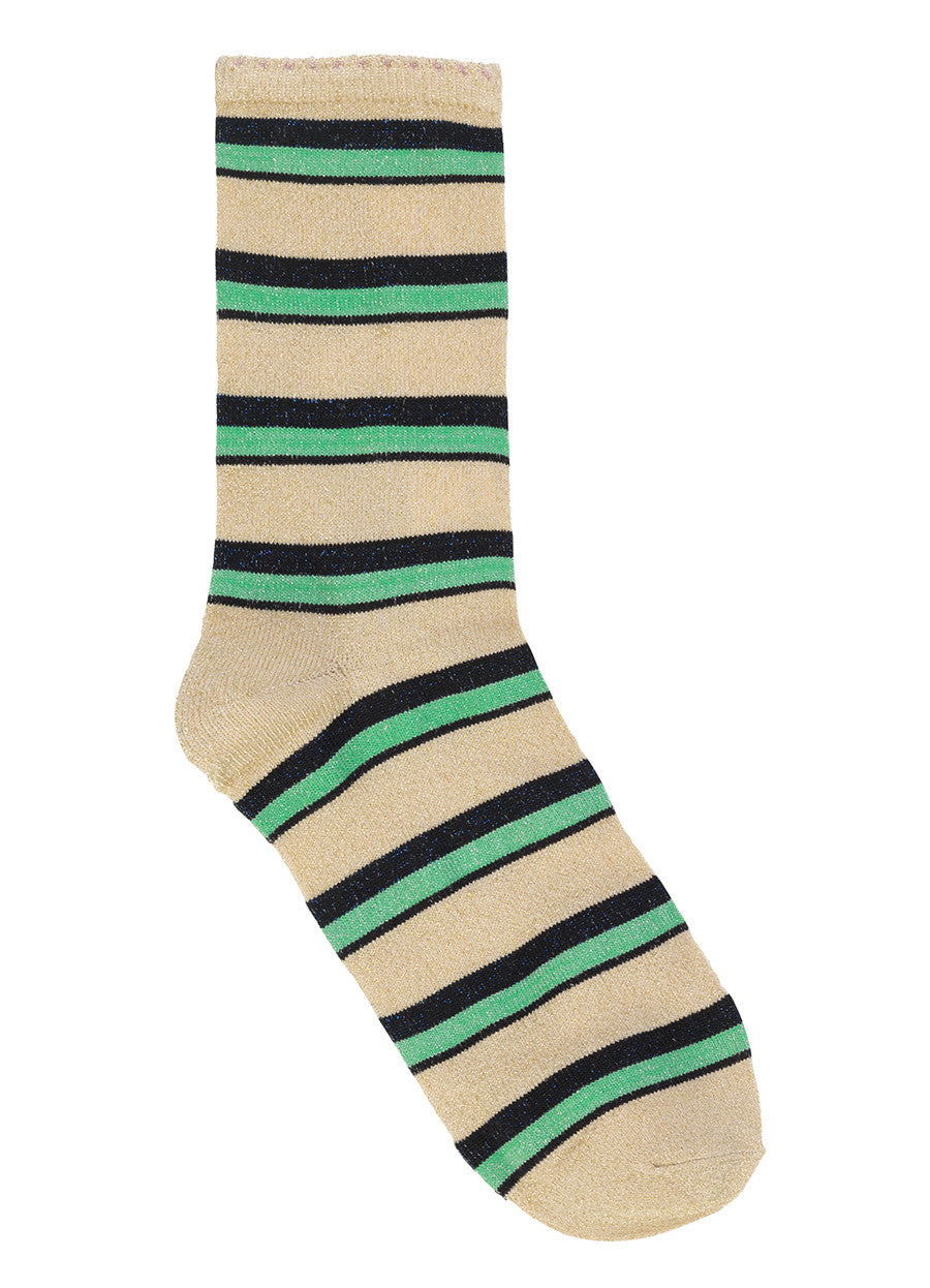 Dina Summer Stripe Glitter Socks in Grass Green