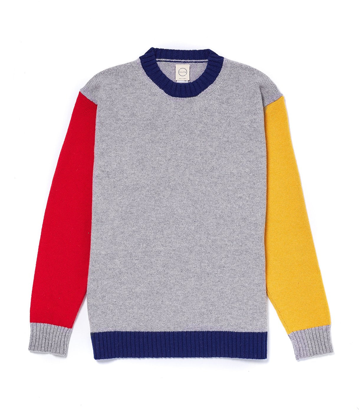 Tri-Colour Sweater in Grey, Yellow and Red