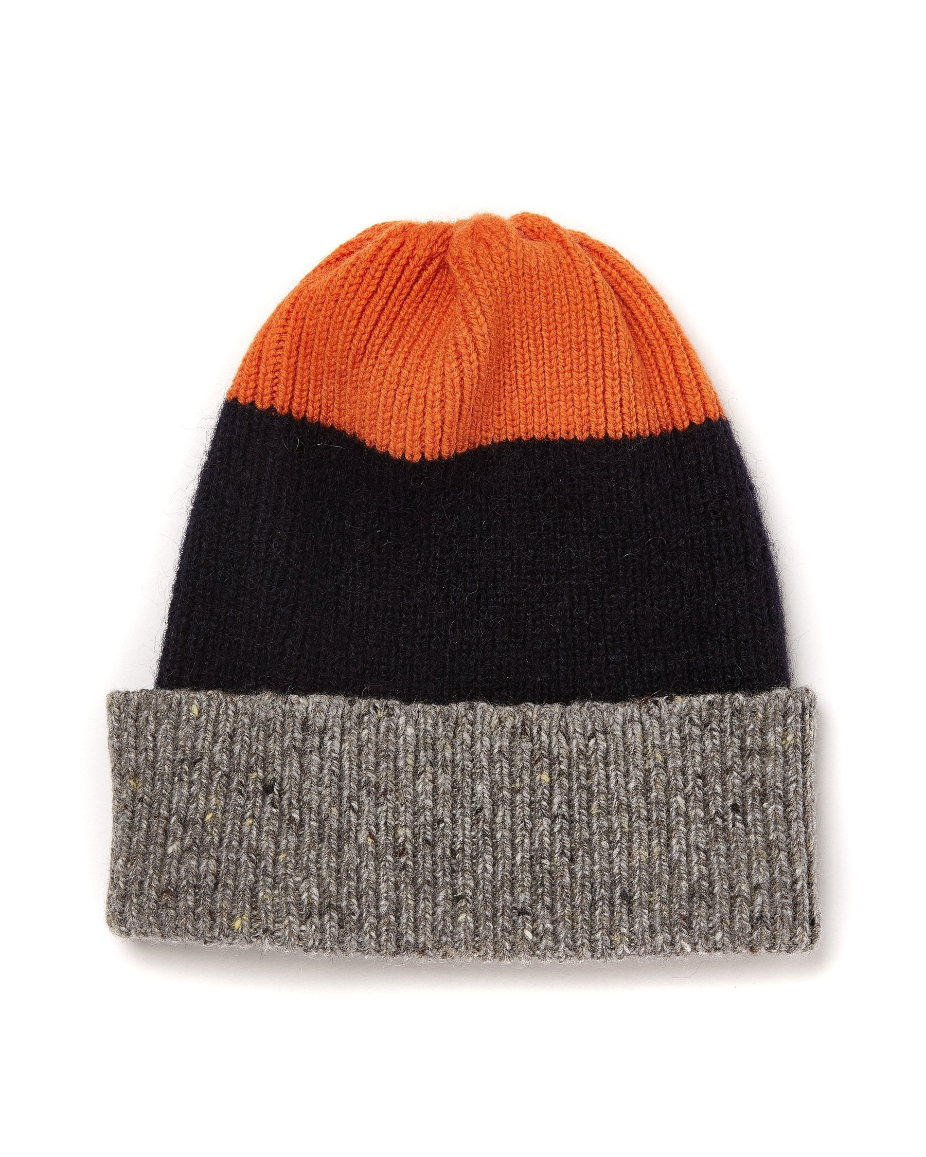 Tri-Colour Watch Cap in Orange, Blue and Grey