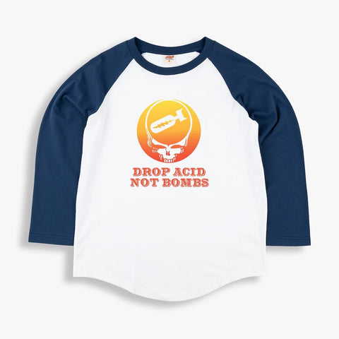 Drop Acid Raglan 3/4 Sleeve T-Shirt in White and Navy