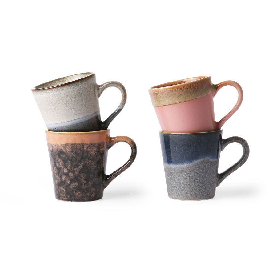 Set of 4 Ceramic 70's Espresso Mugs
