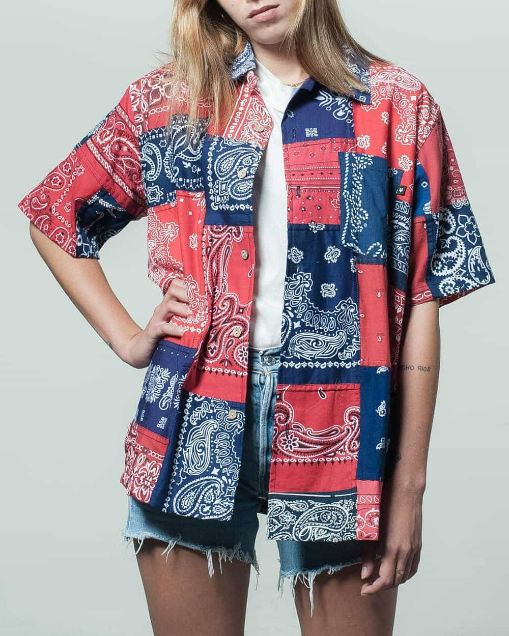 Red and Navy Short Sleeve Bandana Shirt