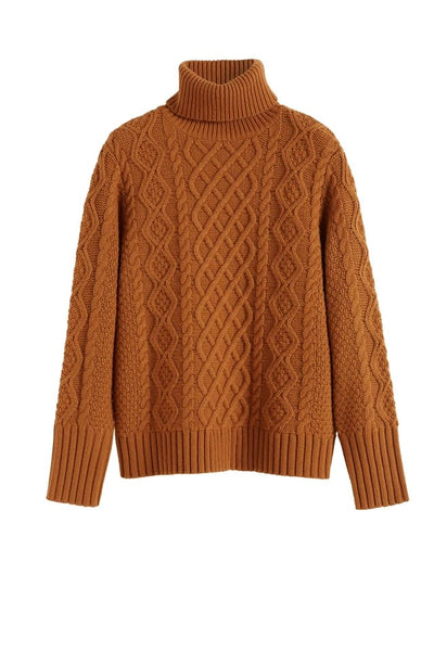 Aran Merino Wool Sweater in Ginger Pop