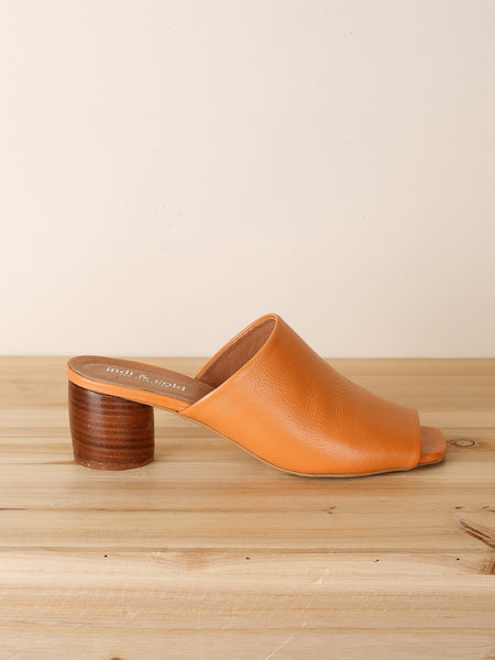 Medium Heel Leather Mule in Flamingo