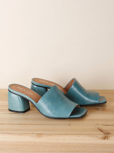 Patent Leather Mules in Sage