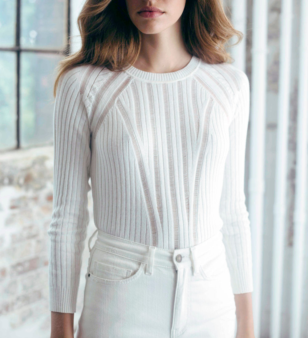 Ladder Knit Sweater in White