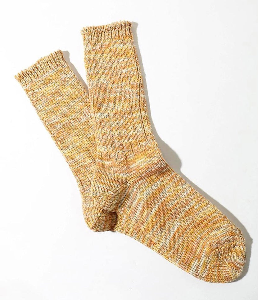 Five Colour Mixed Crew Socks in Gold