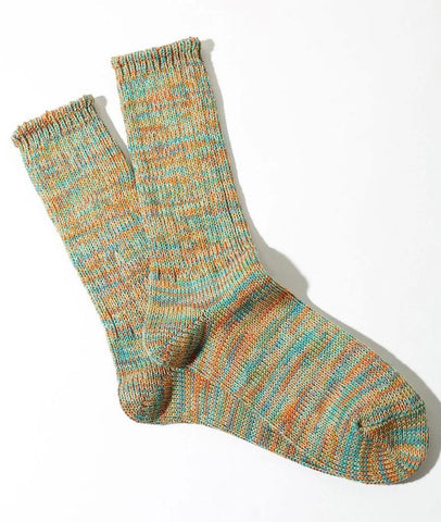 Five Colour Mix Crew Socks in Mint