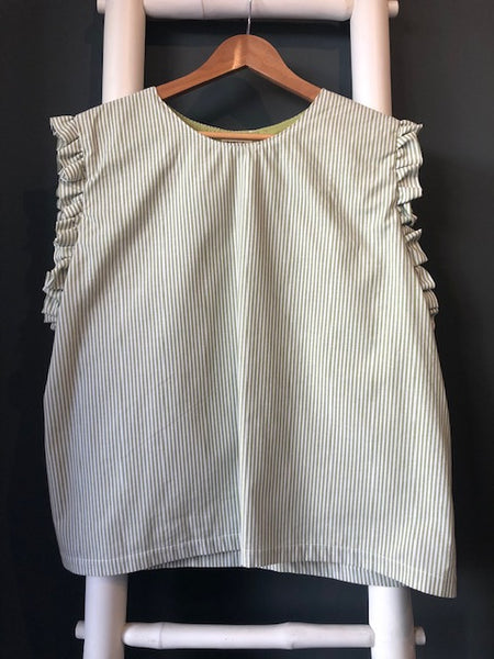 Ducie Top in Green Stripe Cotton