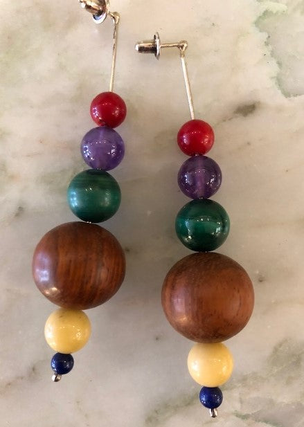 Wood and Stone Earrings