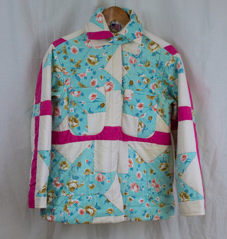 Ardmore Quilted Jacket in White, Soft Blue and Pink