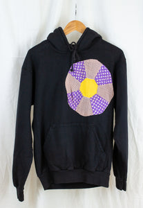 Embellished Hoodie in Soft Black, Pink,Yellow and Gingham