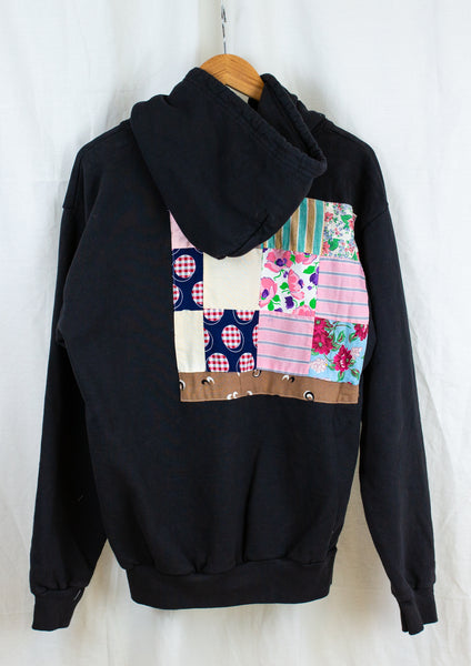 Embellished Hoodie in Soft Black, Blue and Grey print