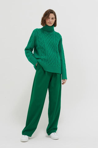 Aran Merino Wool Sweater in Green Pop