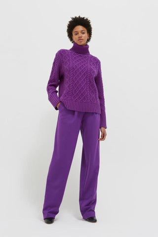 Aran Merino Wool Sweater in Purple Pop