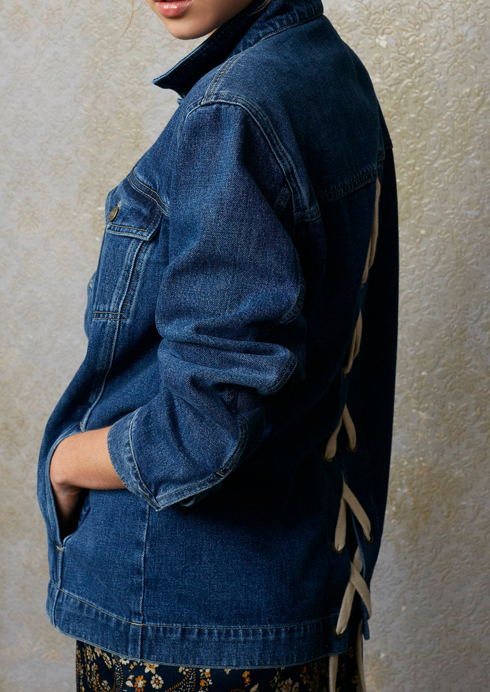 Lace Back Organic Denim Jacket