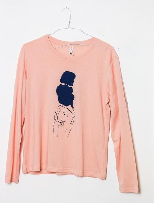 Girl Printed Long Sleeve T-Shirt in Soft pink