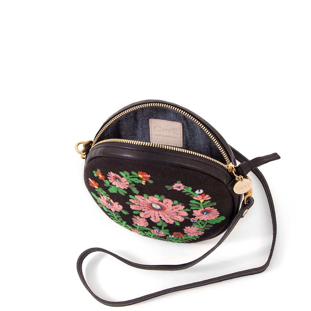 Le Cercle Floral Mexican Bag in Black