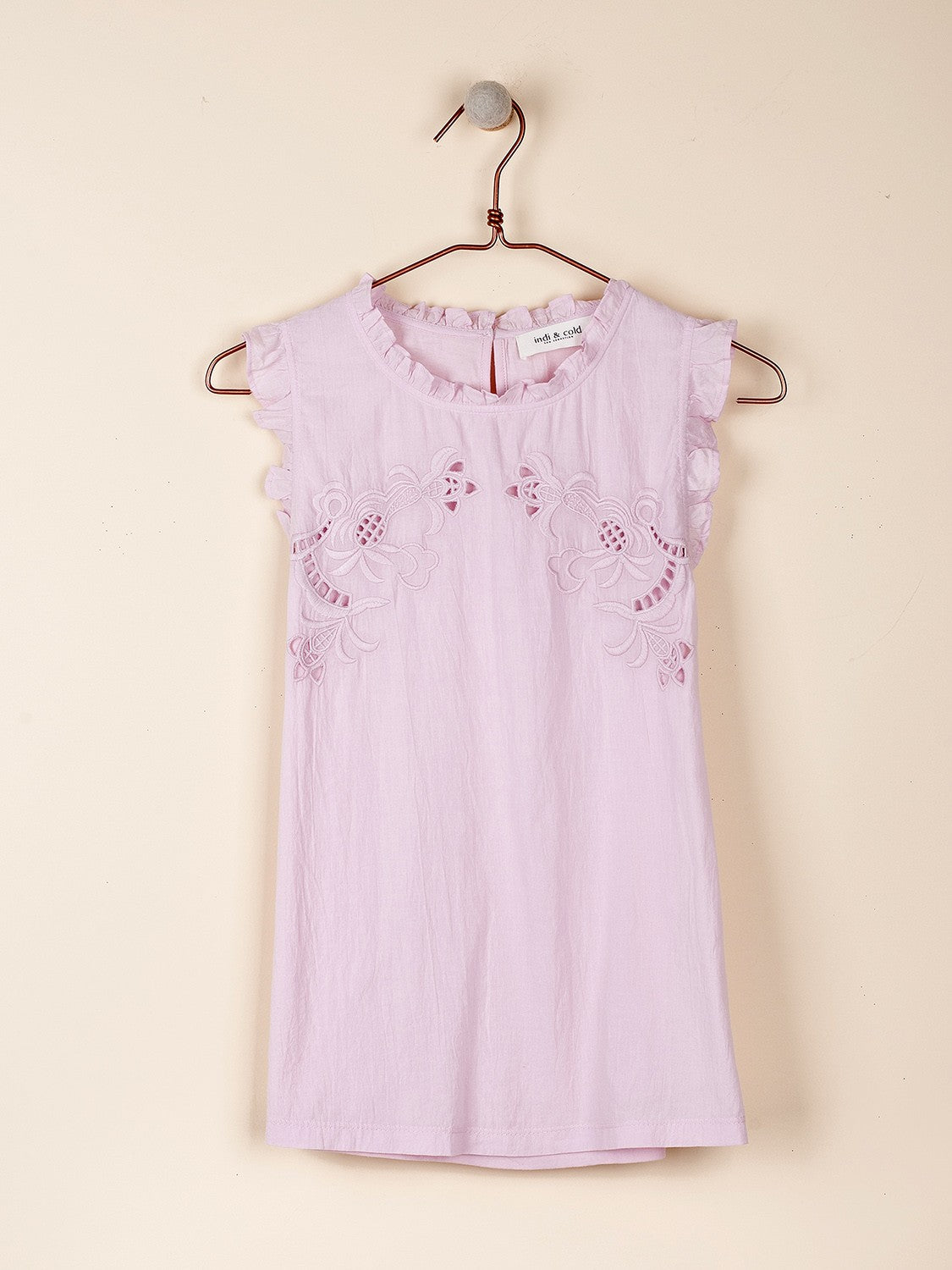 Embroidered Sleeveless T-Shirt in Lilac