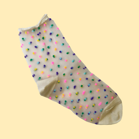 Mesh Dots Socks Cream