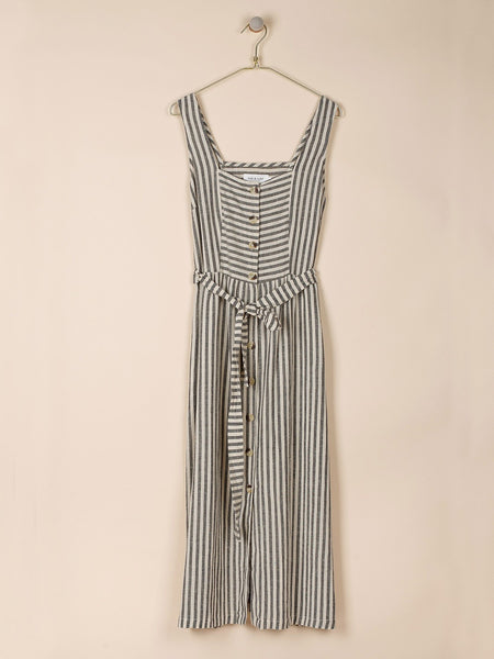 Striped Dungaree Dress in Black