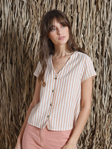 Striped V-Neck Camisa Shirt in Cinnamon