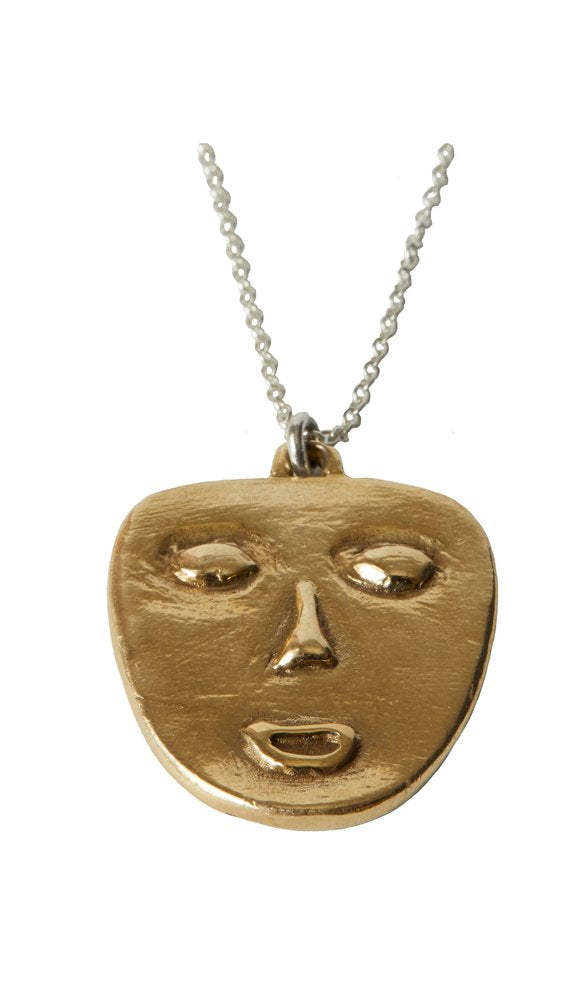 Mask Necklace in Brass