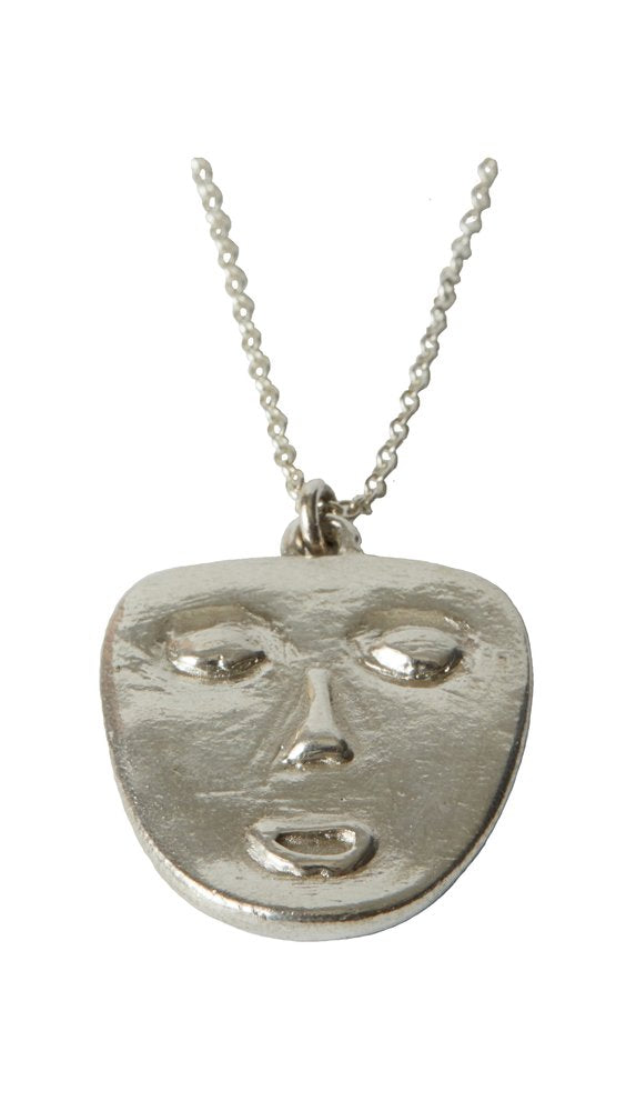 Mask Necklace in Silver