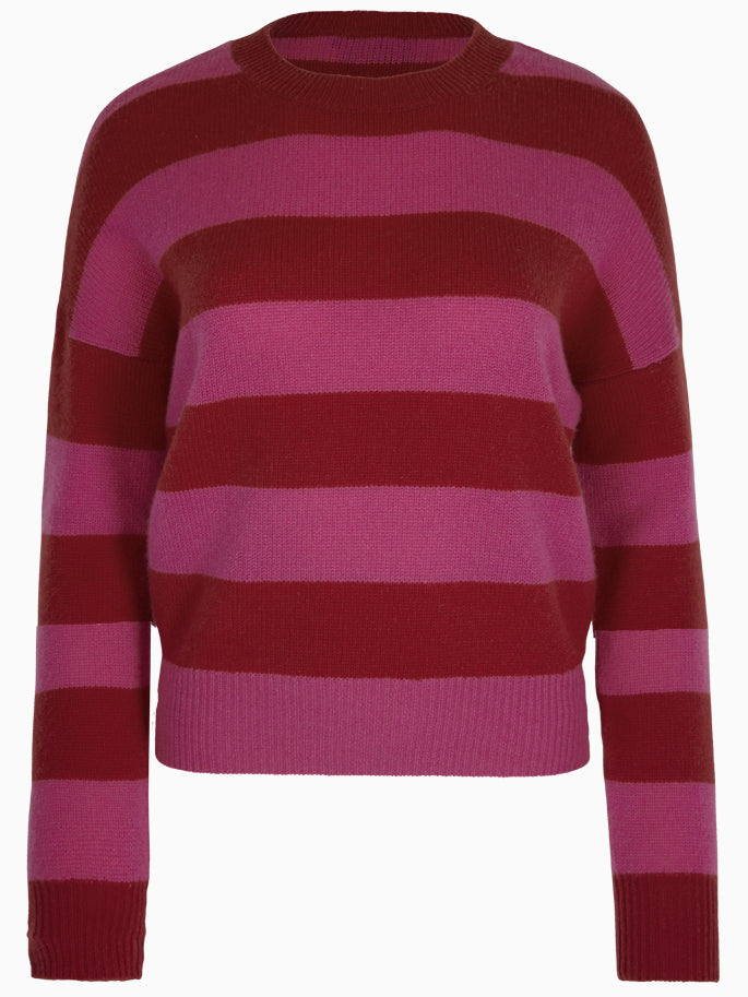 Striped Cashmere Sweater in Pink and Red