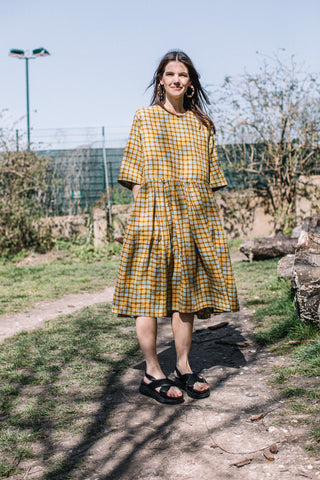 Dale Dress in Yellow Check Linen