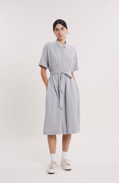 Joan Dress in Navy & Ecru Stripe