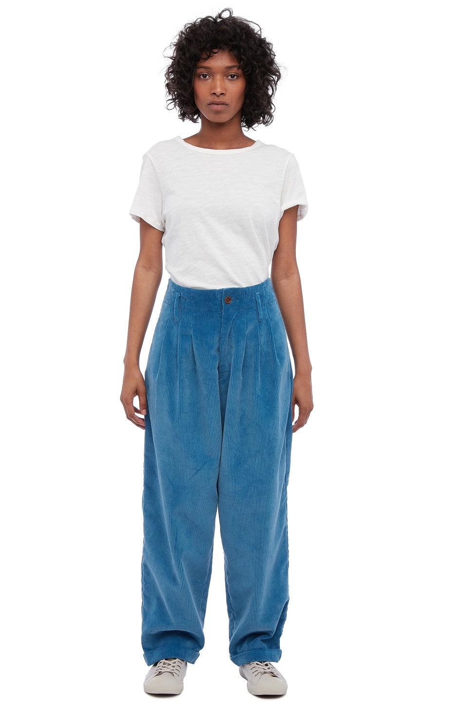 Keaton Cord Trousers in Blue