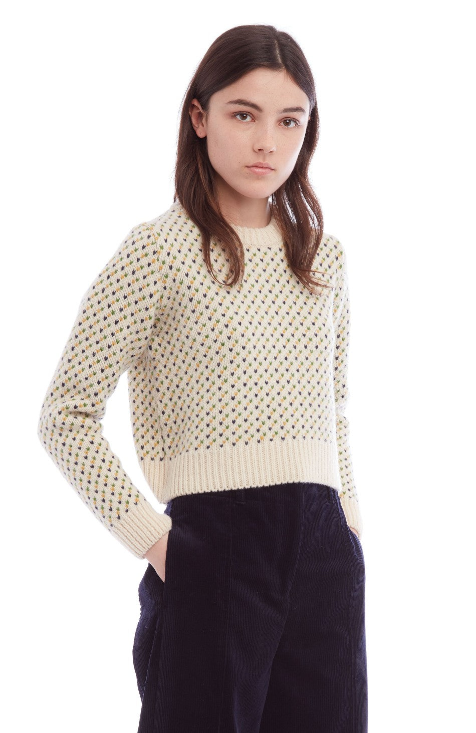 Birdseye Crew Sweater in Ecru